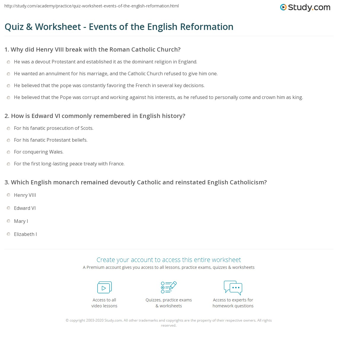 English reformation essay questions