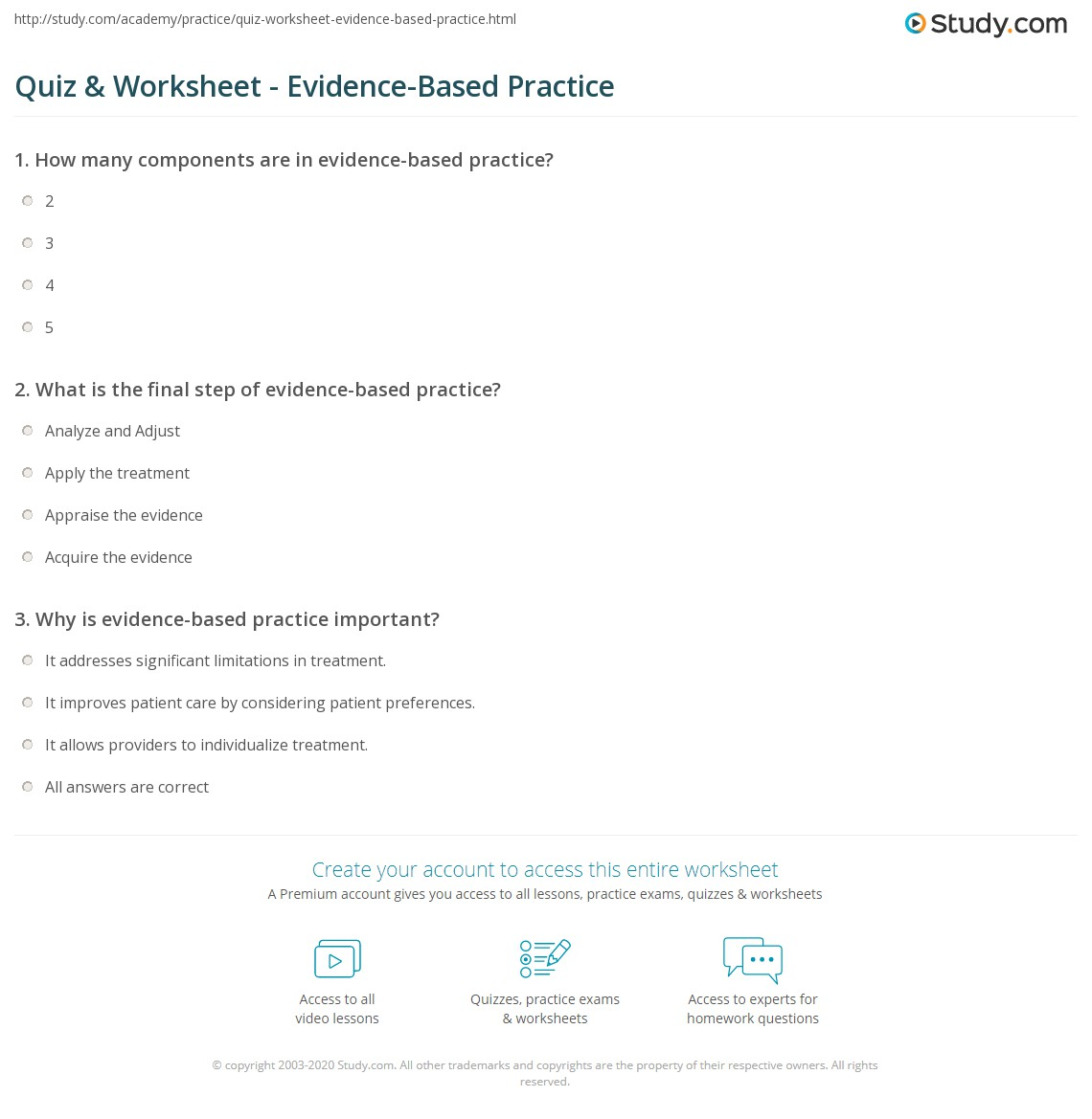 quiz & worksheet - evidence-based practice | study