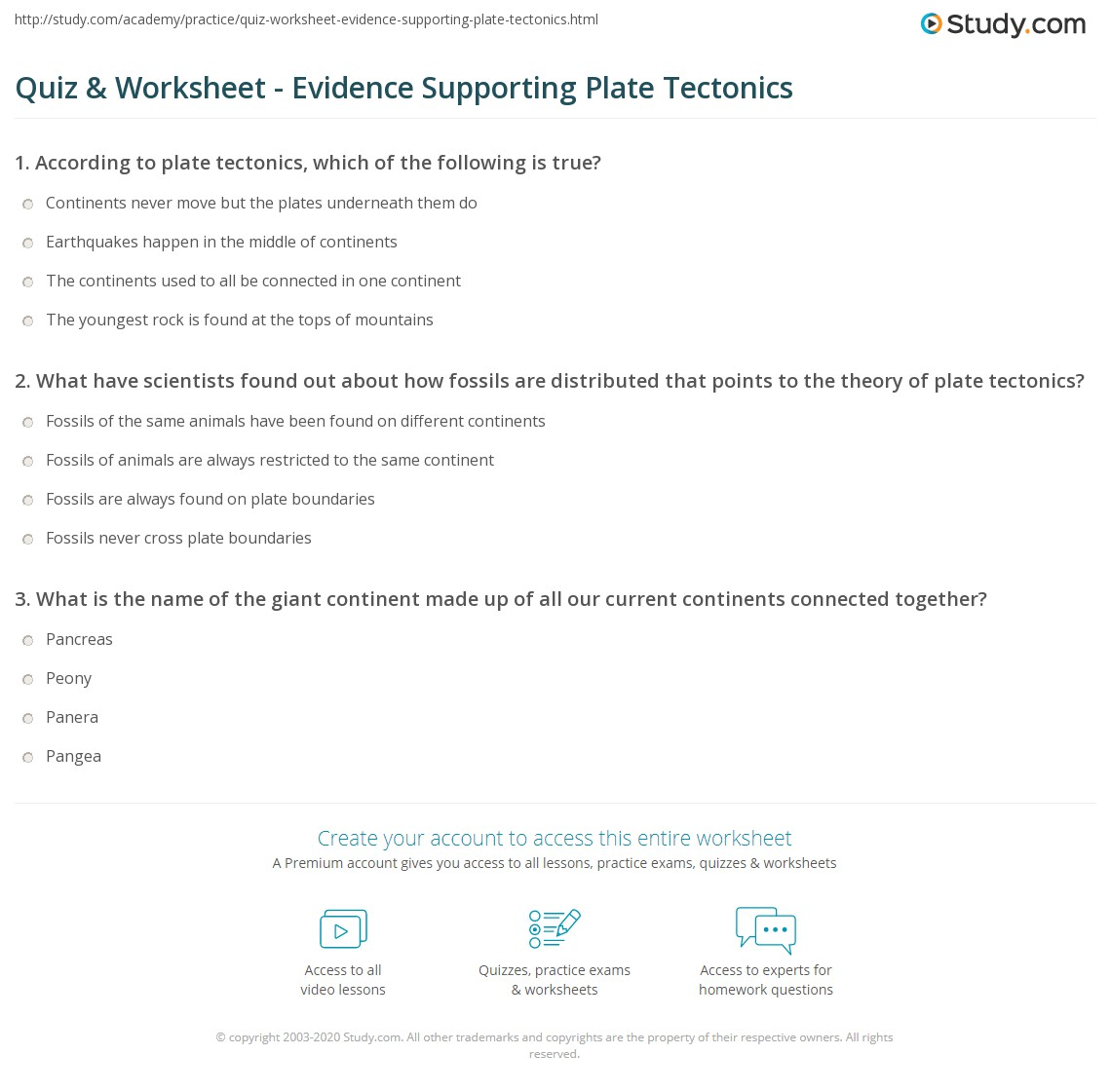 Quiz Worksheet Evidence Supporting Plate Tectonics Study
