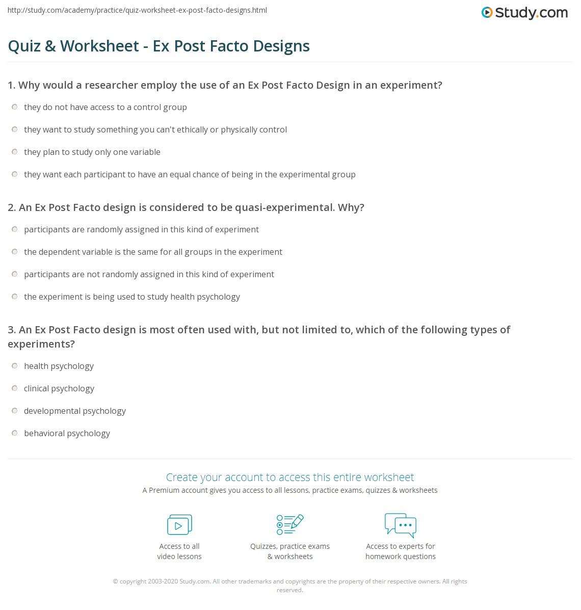 Quiz & Worksheet - Ex Post Facto Designs