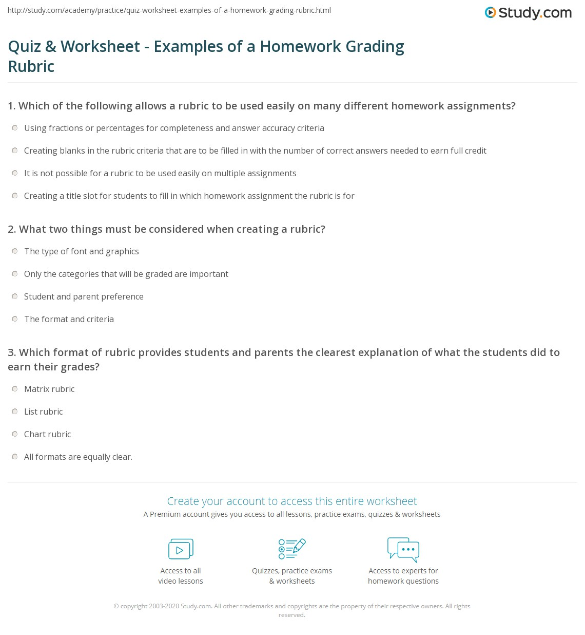 Quiz & Worksheet - Examples of a Homework Grading Rubric | Study.com