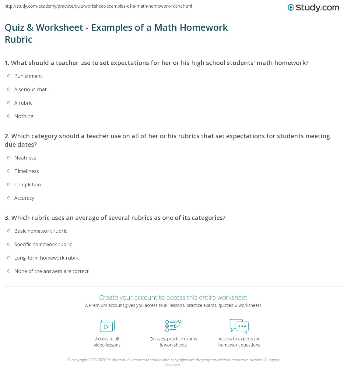 Quiz & Worksheet - Examples of a Math Homework Rubric | Study.com