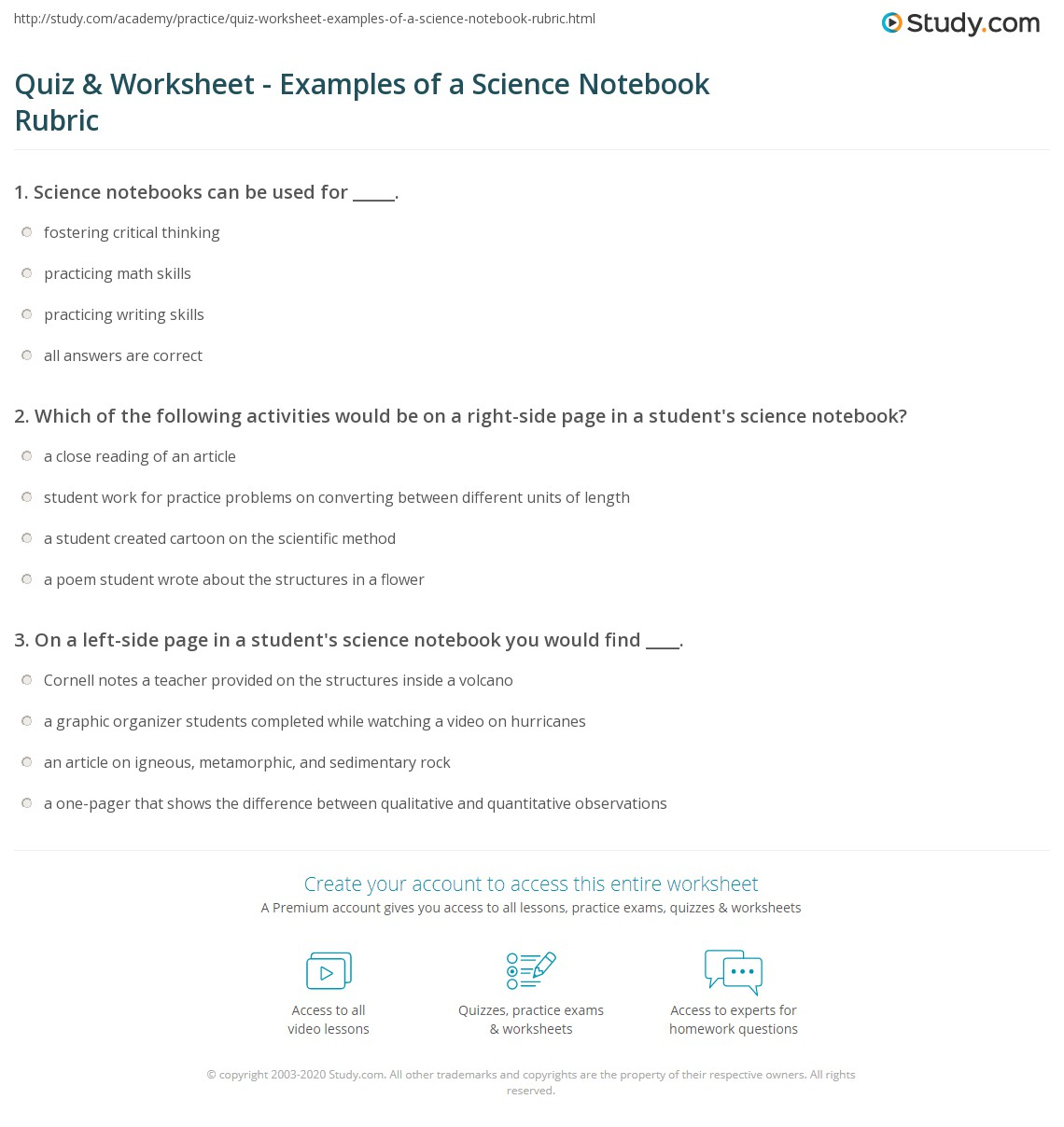 Quiz Worksheet Examples Of A Science Notebook Rubric Study
