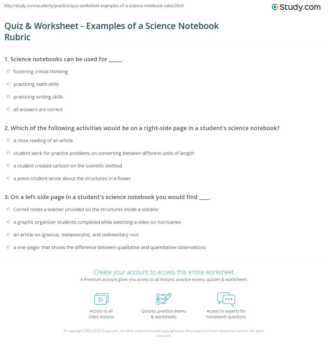 quiz worksheet examples of a science notebook rubric. Black Bedroom Furniture Sets. Home Design Ideas