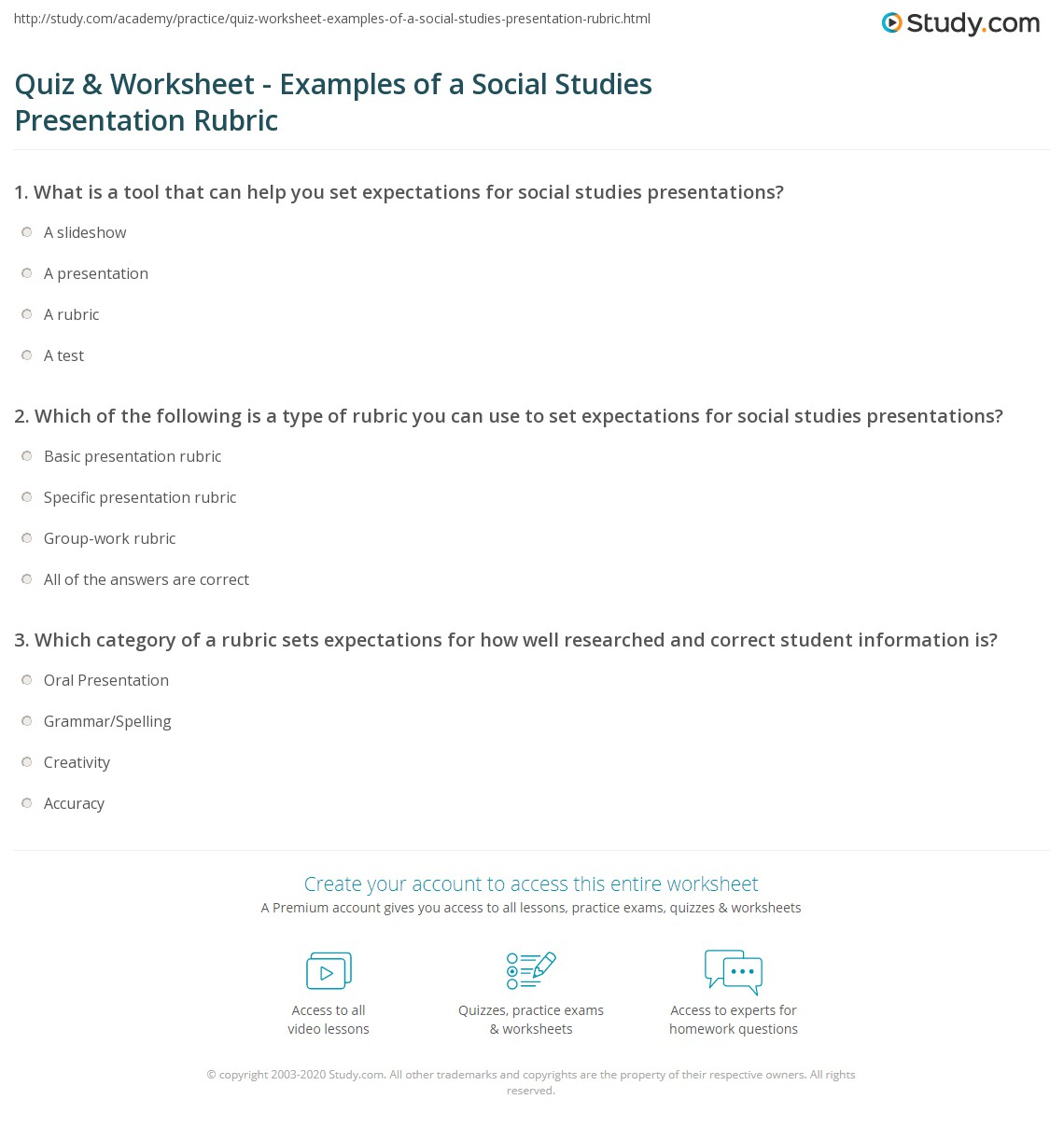 Quiz Amp Worksheet Examples Of A Social Studies