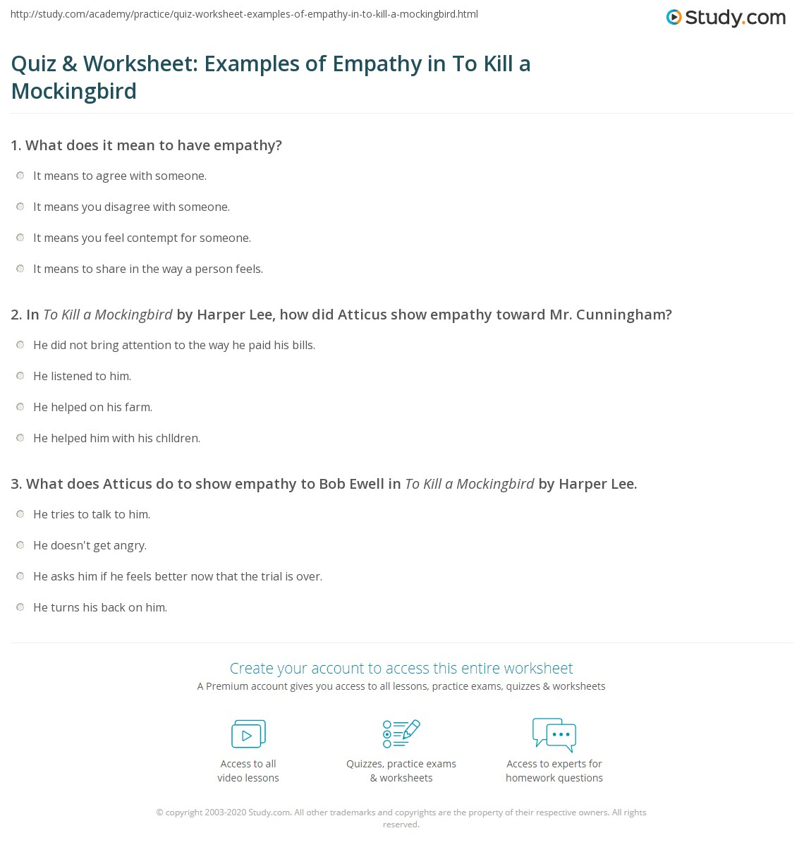 Uncategorized Empathy Worksheets quiz worksheet examples of empathy in to kill a mockingbird print quotes worksheet