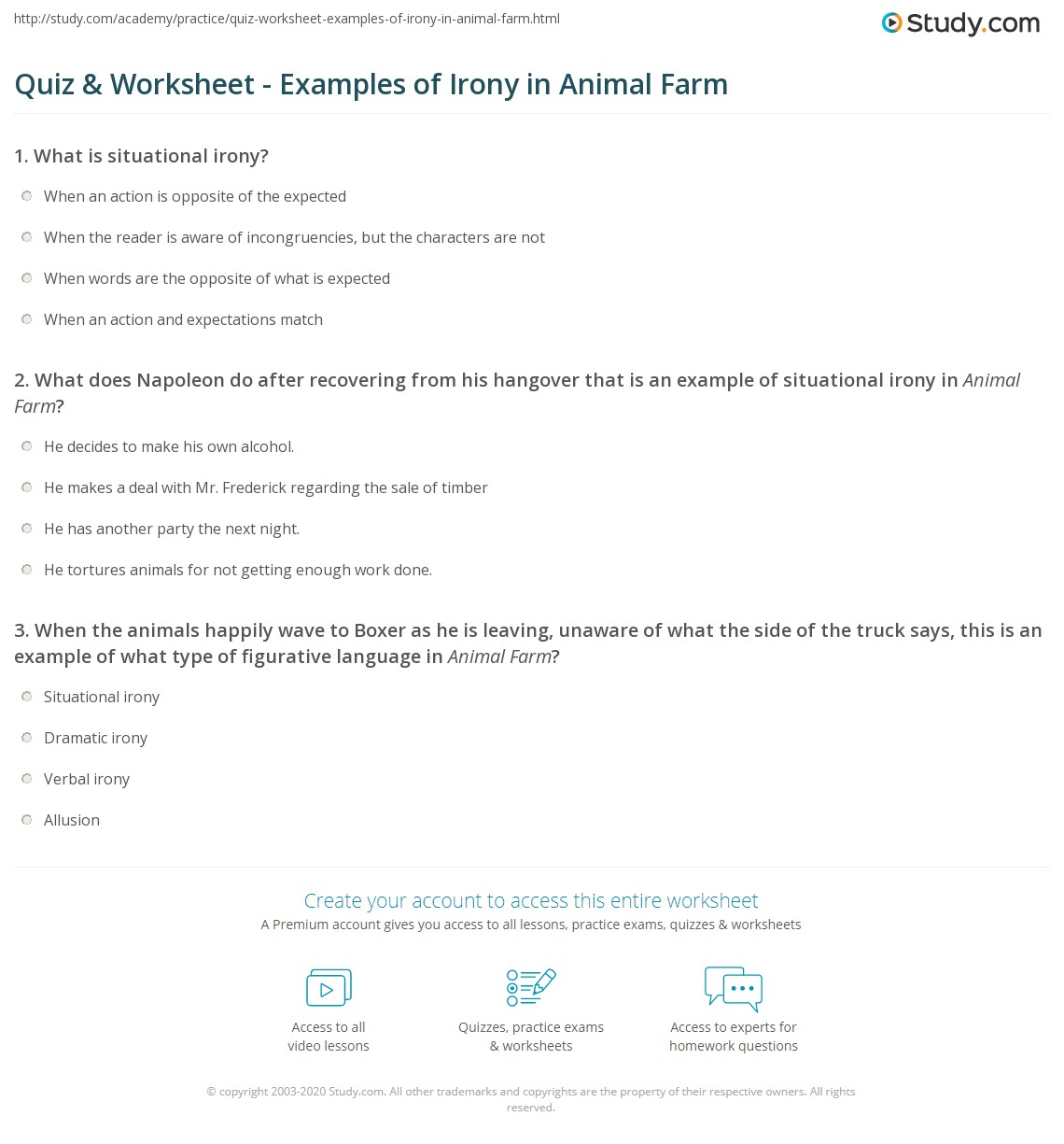 Quiz Amp Worksheet Examples Of Irony In Animal Farm
