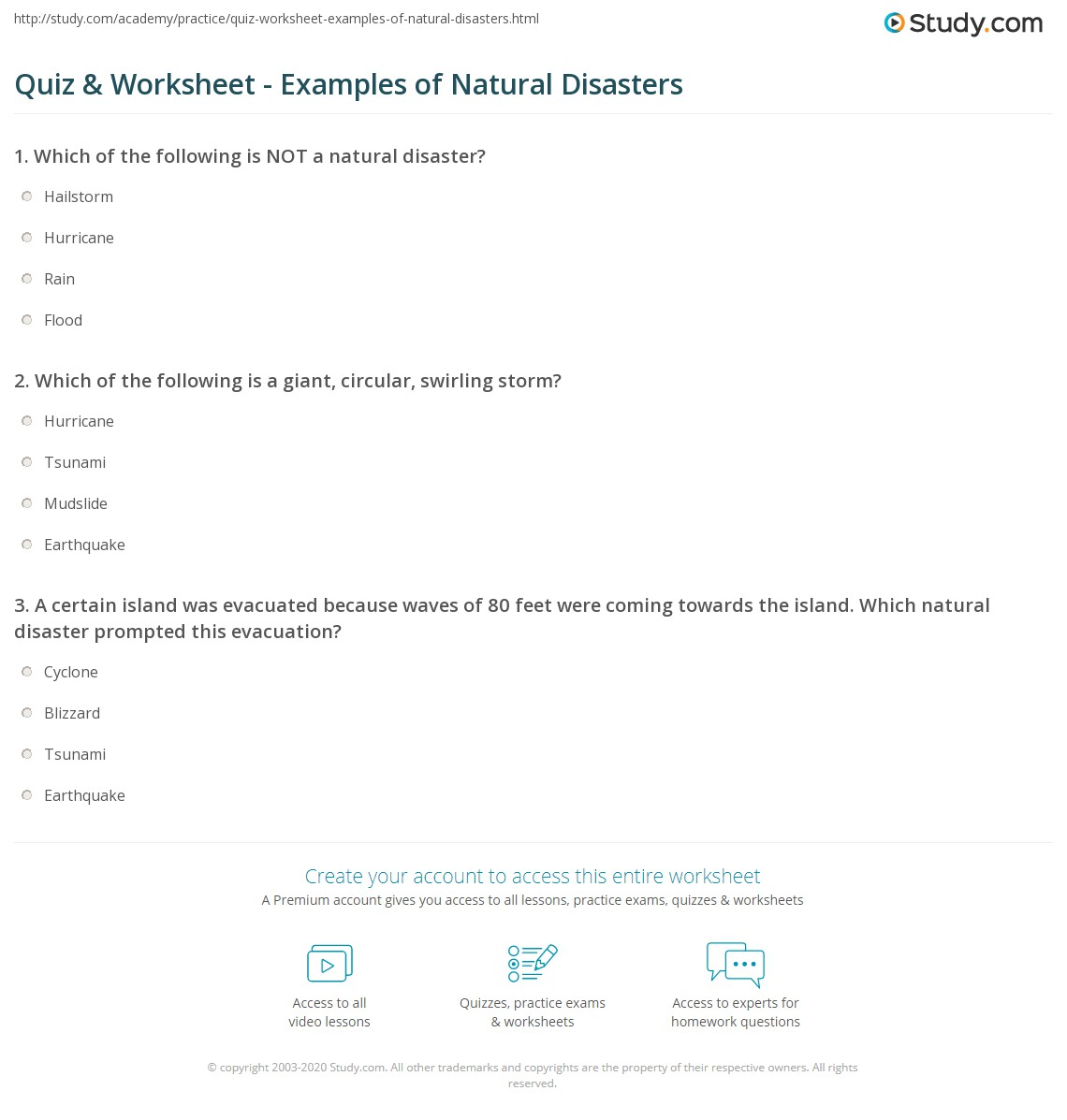 quiz & worksheet - examples of natural disasters | study