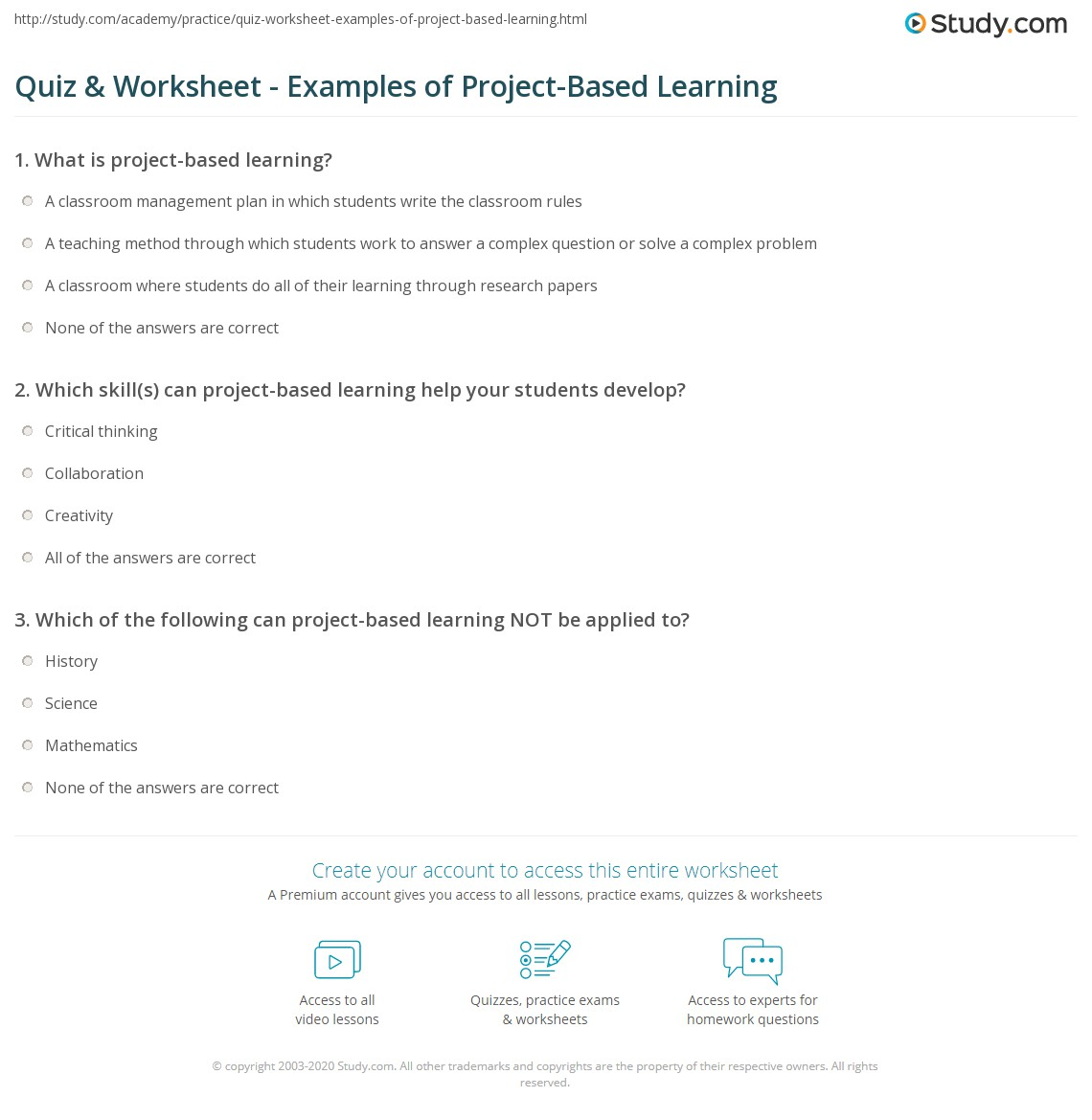 worksheet Career Research Worksheet quiz worksheet examples of project based learning study com print worksheet