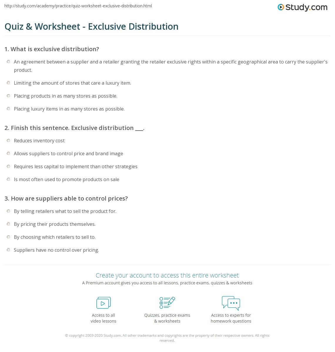 Quiz Worksheet Exclusive Distribution Study Com