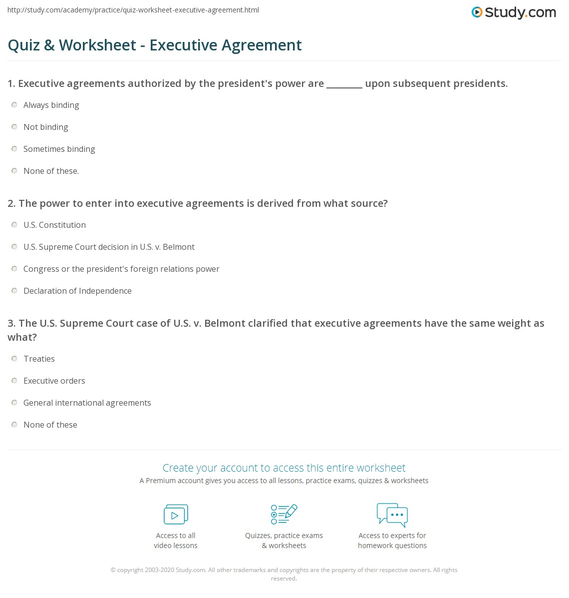Quiz worksheet executive agreement study the power to enter into executive agreements is derived from what source platinumwayz