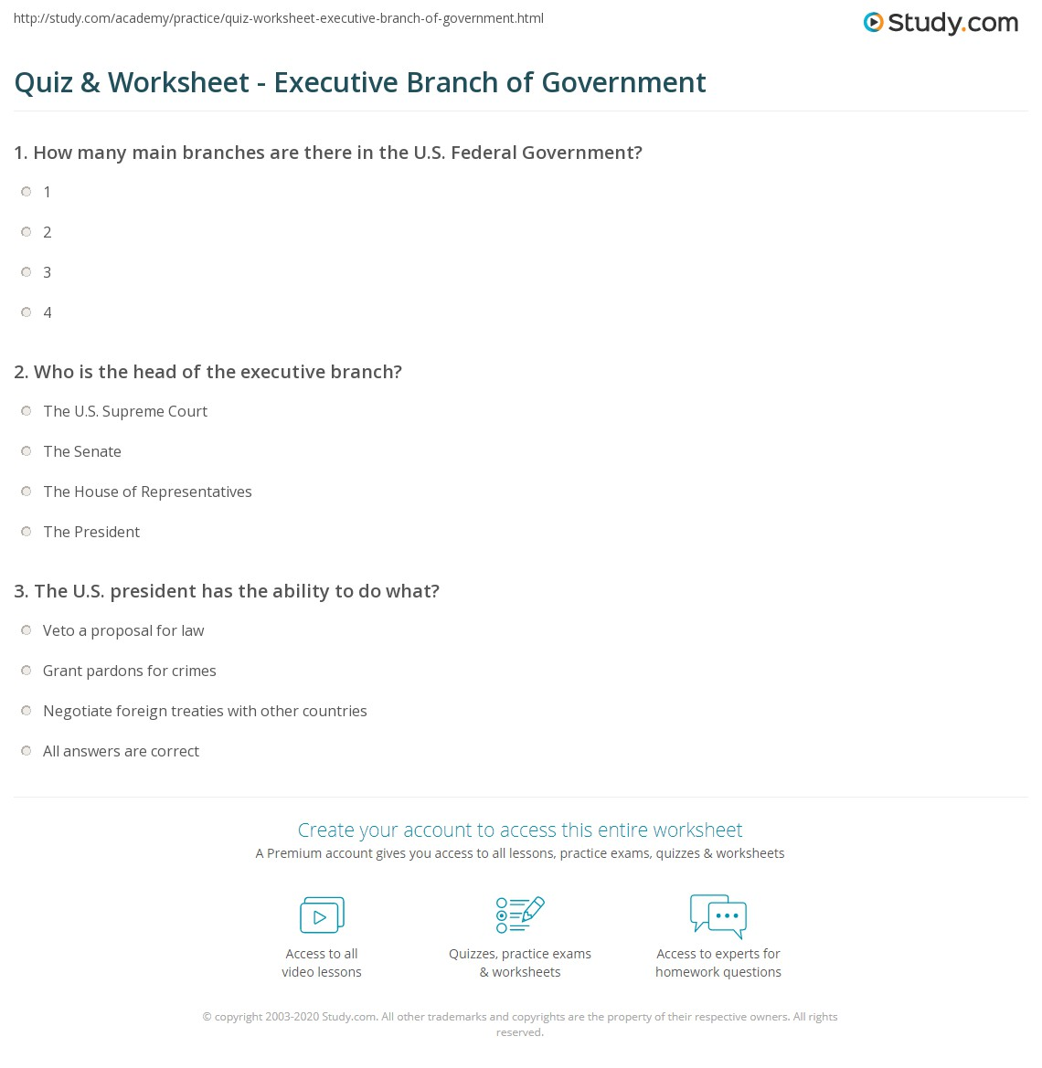 Quiz Worksheet Executive Branch Of Government Study Com