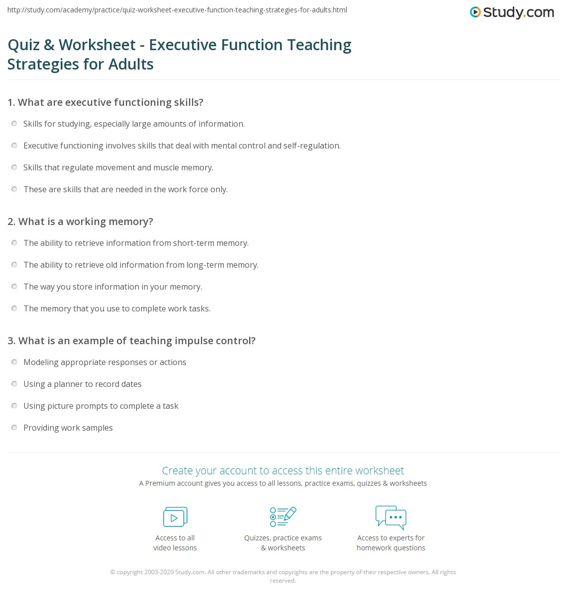 Quiz Worksheet Executive Function Teaching Strategies for – Worksheets for Adults