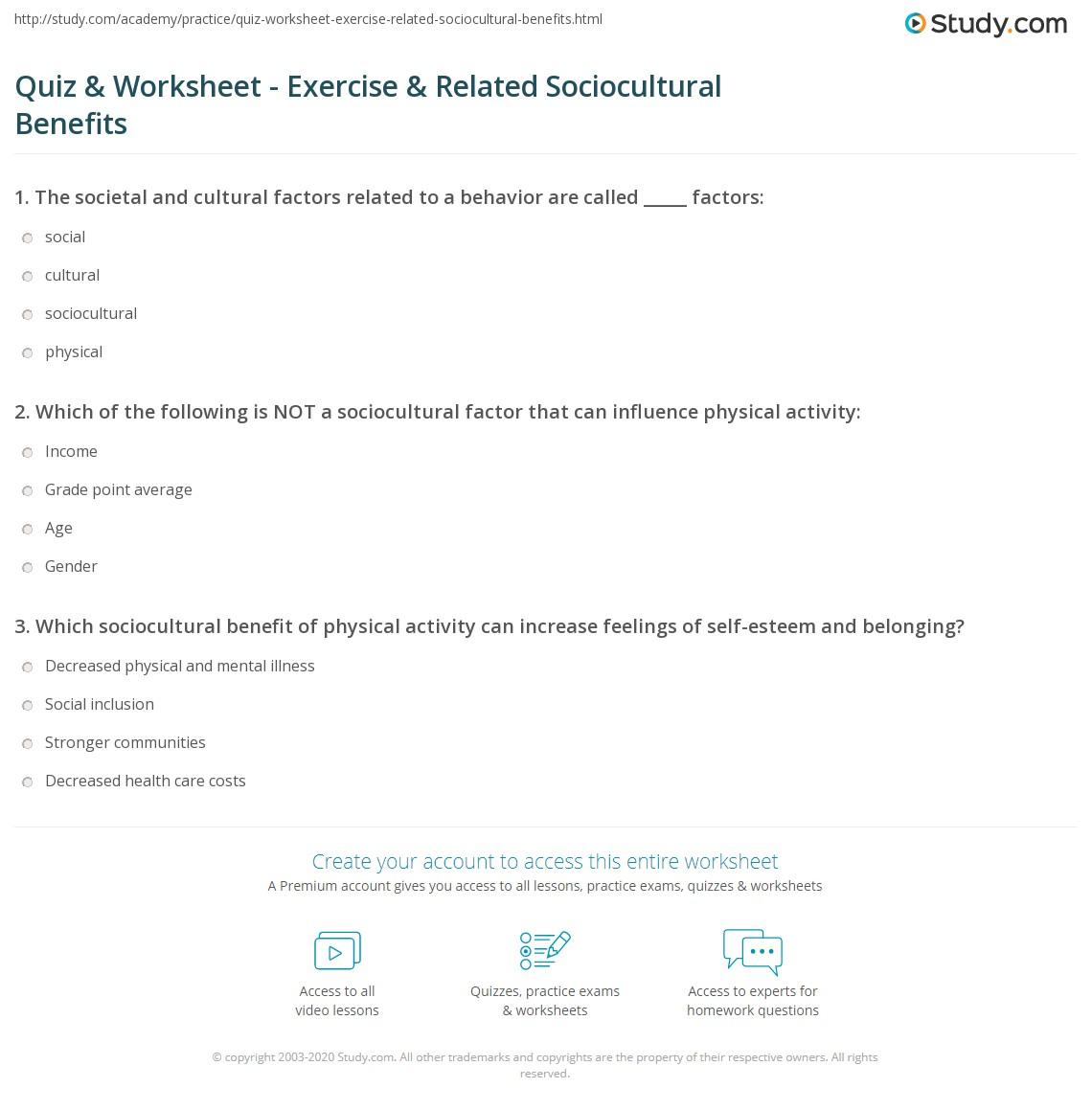 Quiz Worksheet Exercise Related Sociocultural Benefits – Exercise Worksheets