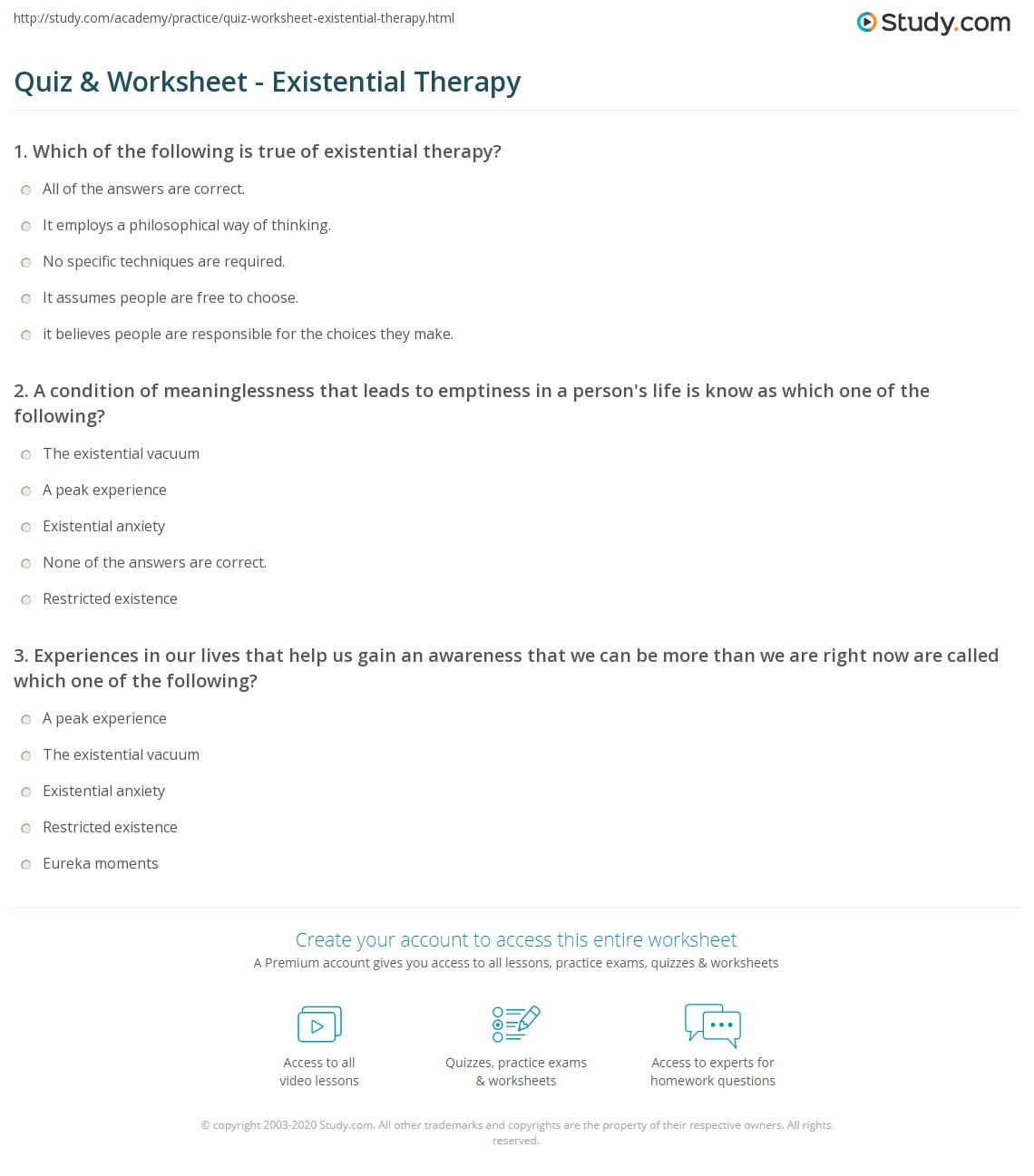 worksheet Psychotherapy Worksheets psychotherapy worksheets for school pigmu quiz worksheet existential therapy study com
