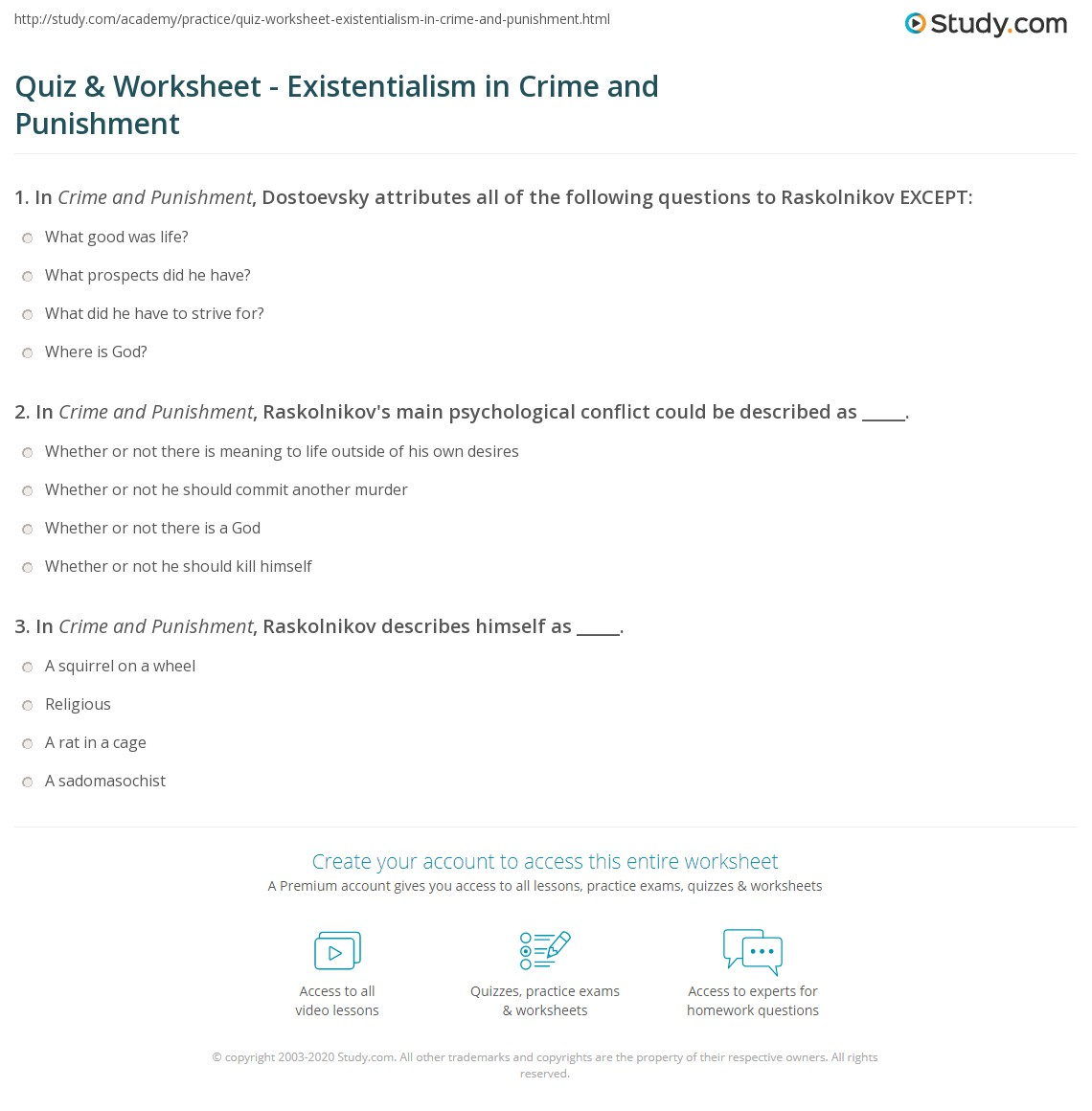 Quiz Worksheet Existentialism In Crime And Punishment Study