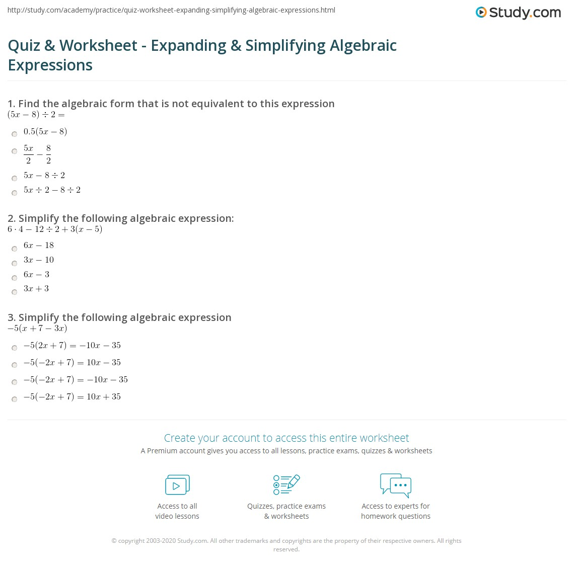 quiz worksheet expanding simplifying algebraic expressions. Black Bedroom Furniture Sets. Home Design Ideas