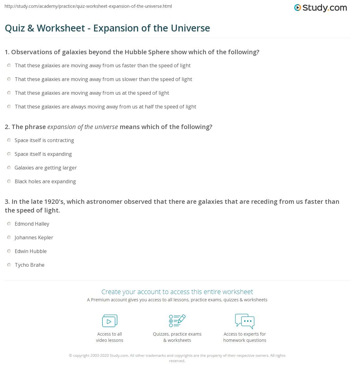 quiz worksheet expansion of the universe. Black Bedroom Furniture Sets. Home Design Ideas
