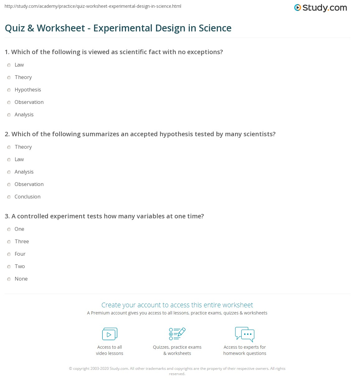quiz worksheet experimental design in science. Black Bedroom Furniture Sets. Home Design Ideas