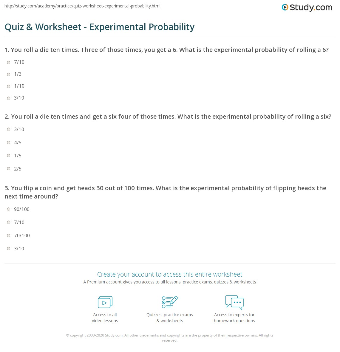 quiz worksheet experimental probability. Black Bedroom Furniture Sets. Home Design Ideas