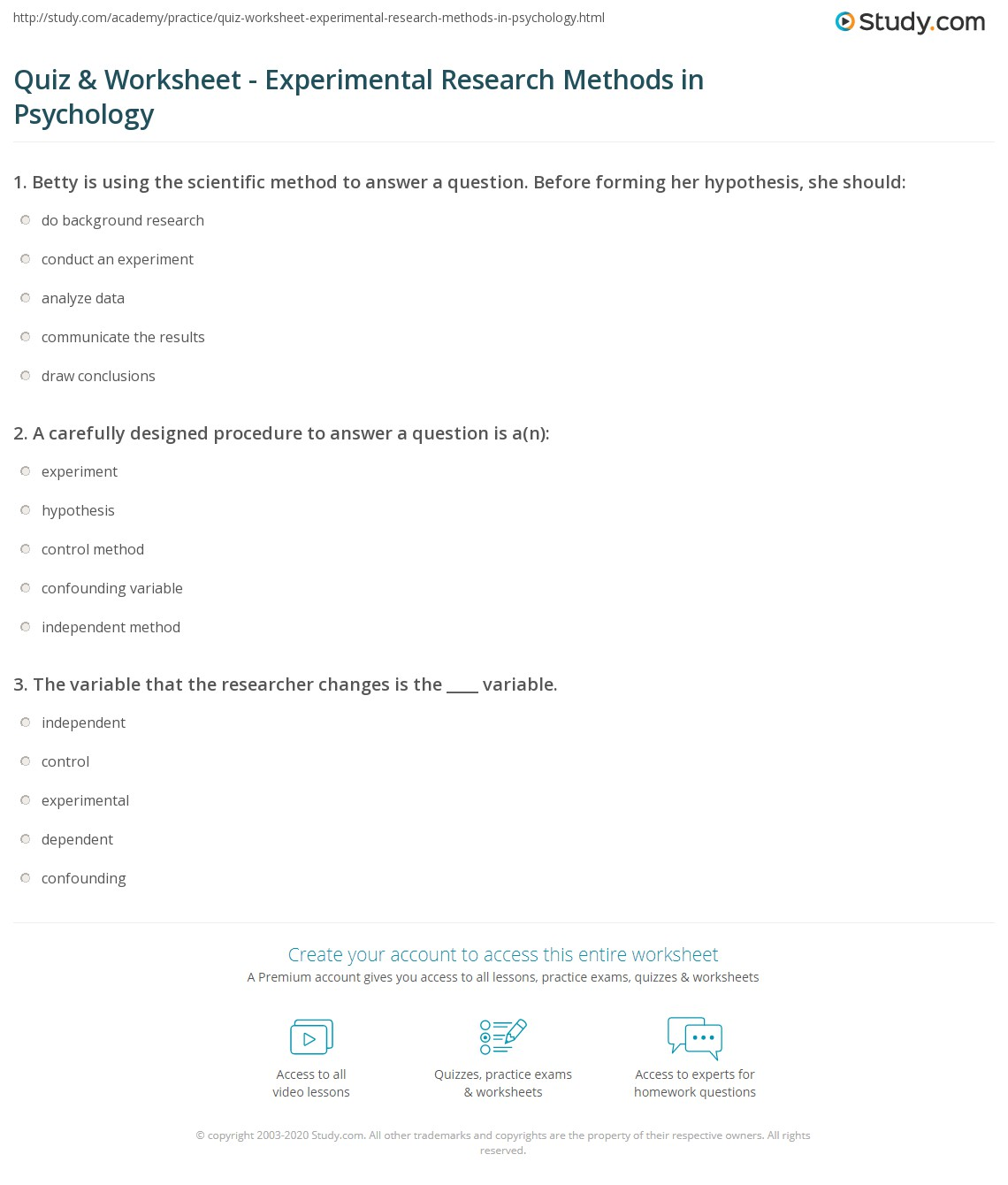 Print Experimental Research in Psychology: Methods Studies \u0026 Definition Worksheet