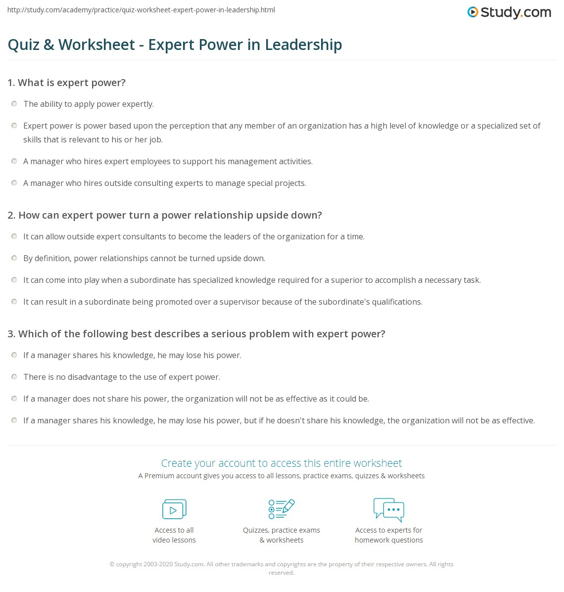 worksheet Power To A Power Worksheet quiz worksheet expert power in leadership study com print definition examples worksheet