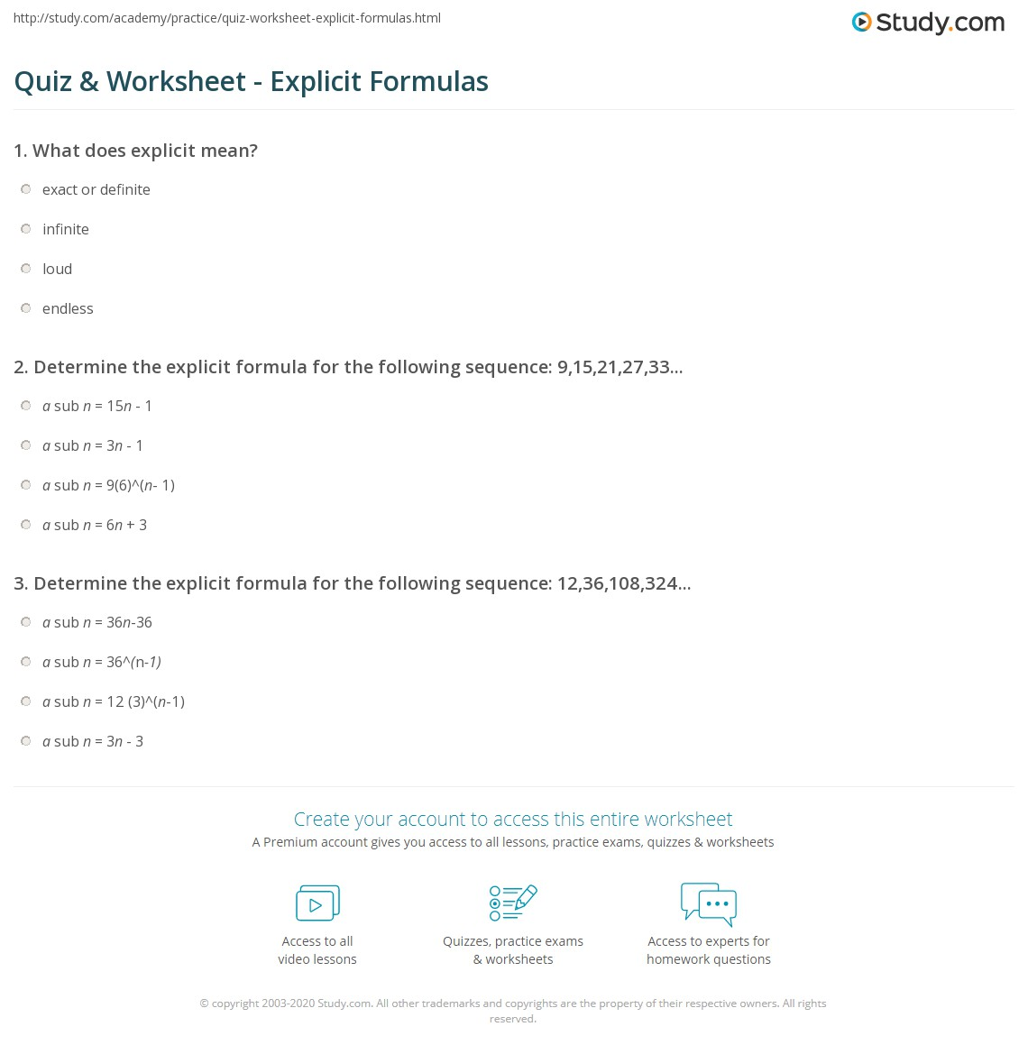 Quiz & Worksheet - Explicit Formulas | Study.com