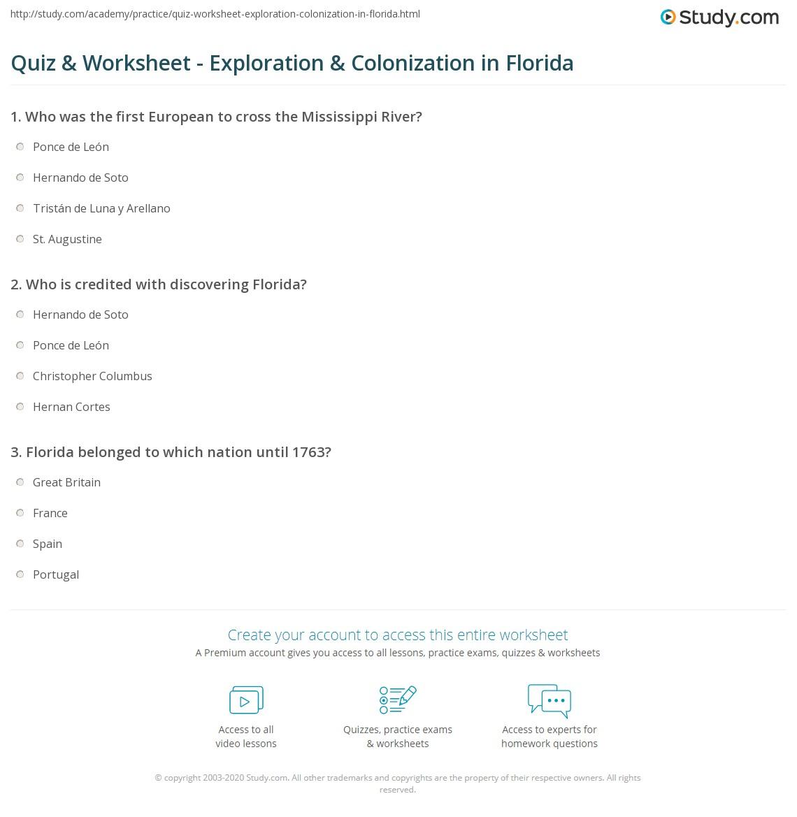 quiz worksheet exploration colonization in florida. Black Bedroom Furniture Sets. Home Design Ideas