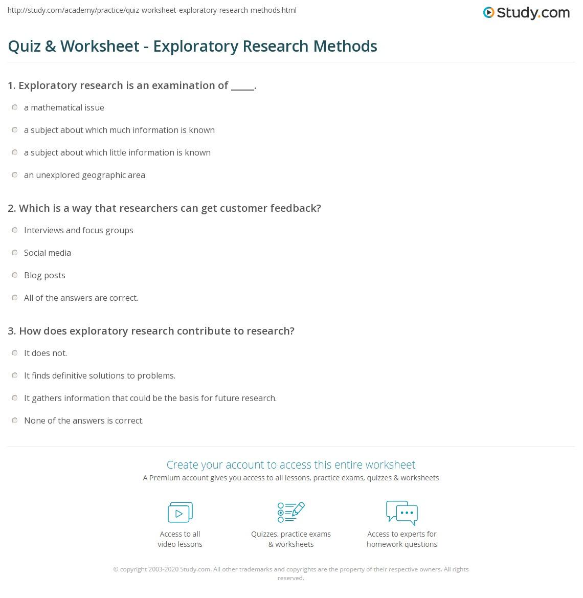 Quiz amp Worksheet Exploratory Research Methods Studycom Quiz Worksheet Exploratory Research Methods Quiz Worksheet Exploratory Research Methods
