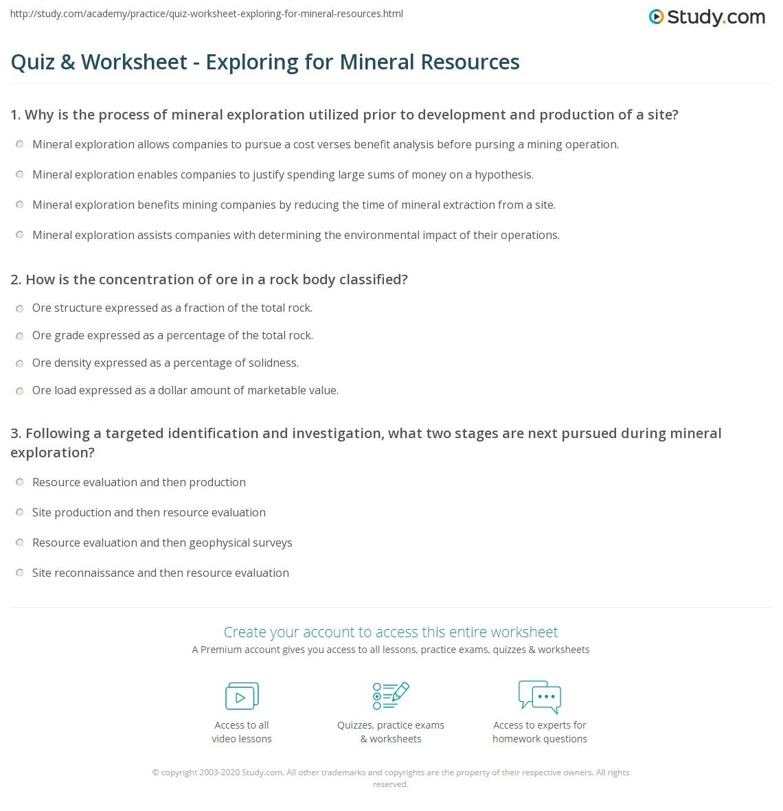 Quiz & Worksheet - Exploring for Mineral Resources | Study com