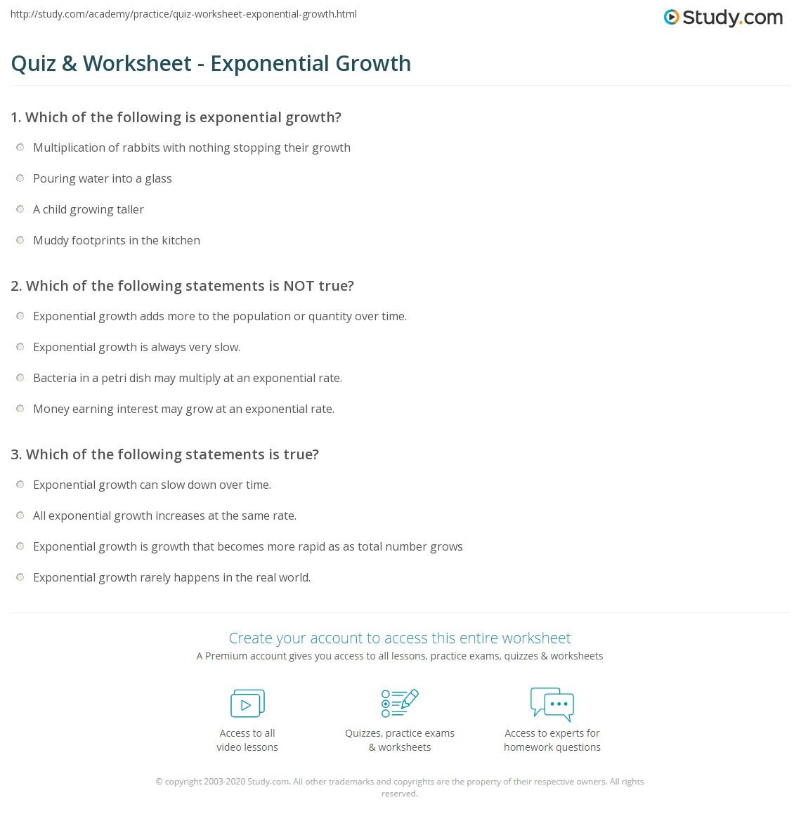 quiz worksheet exponential growth. Black Bedroom Furniture Sets. Home Design Ideas