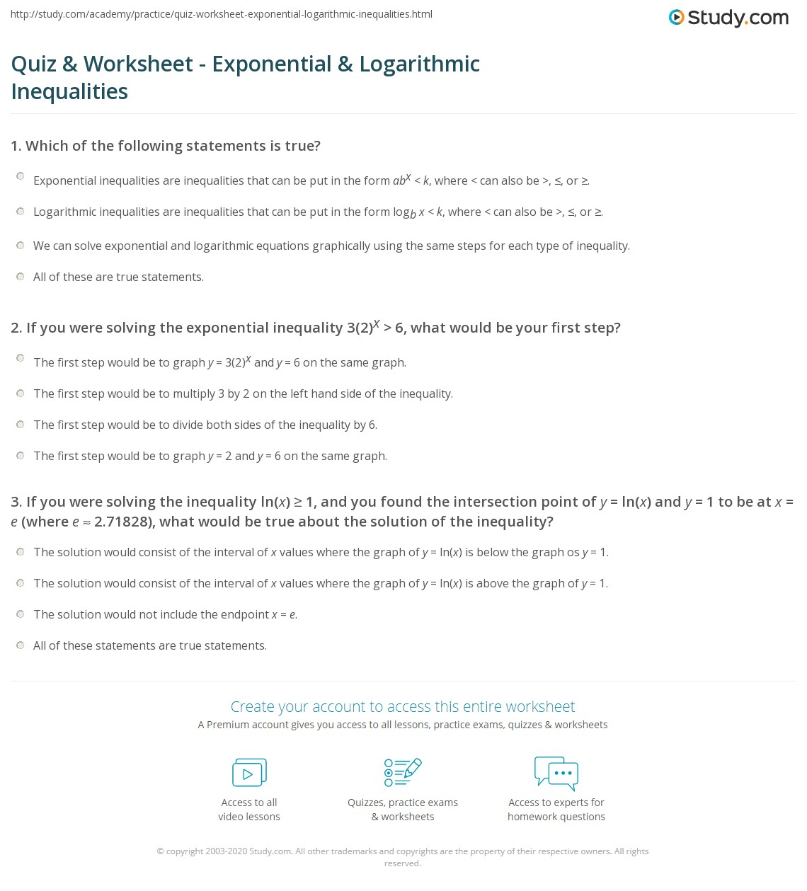 Quiz Worksheet Exponential Logarithmic Inequalities – Logarithmic Equations Worksheet