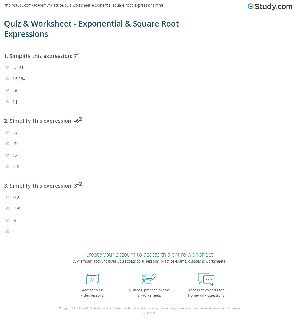 worksheet Numerical Expressions Worksheet quiz worksheet exponential square root expressions study com print exponents roots definition examples worksheet