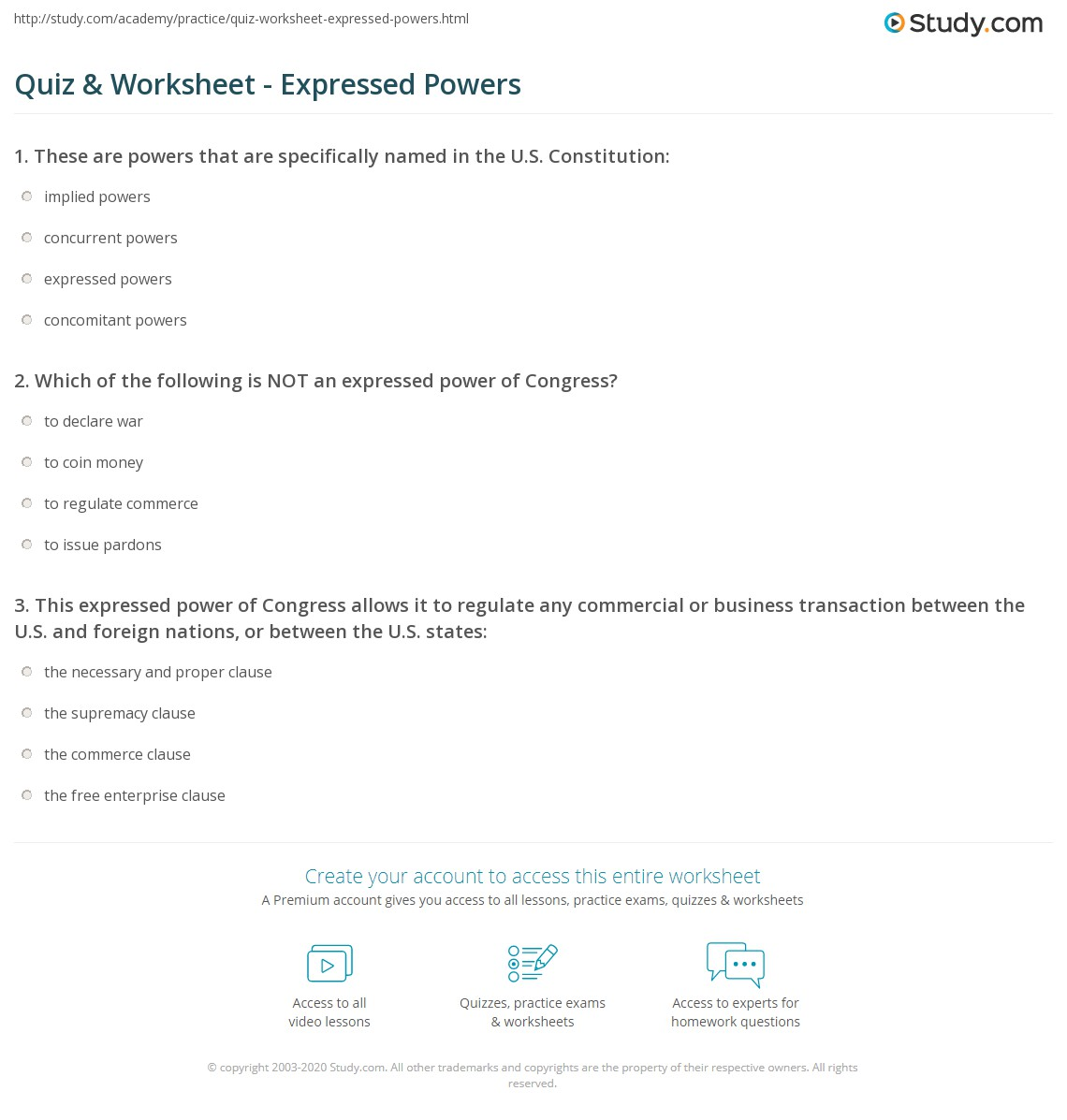 Quiz Worksheet Expressed Powers Study