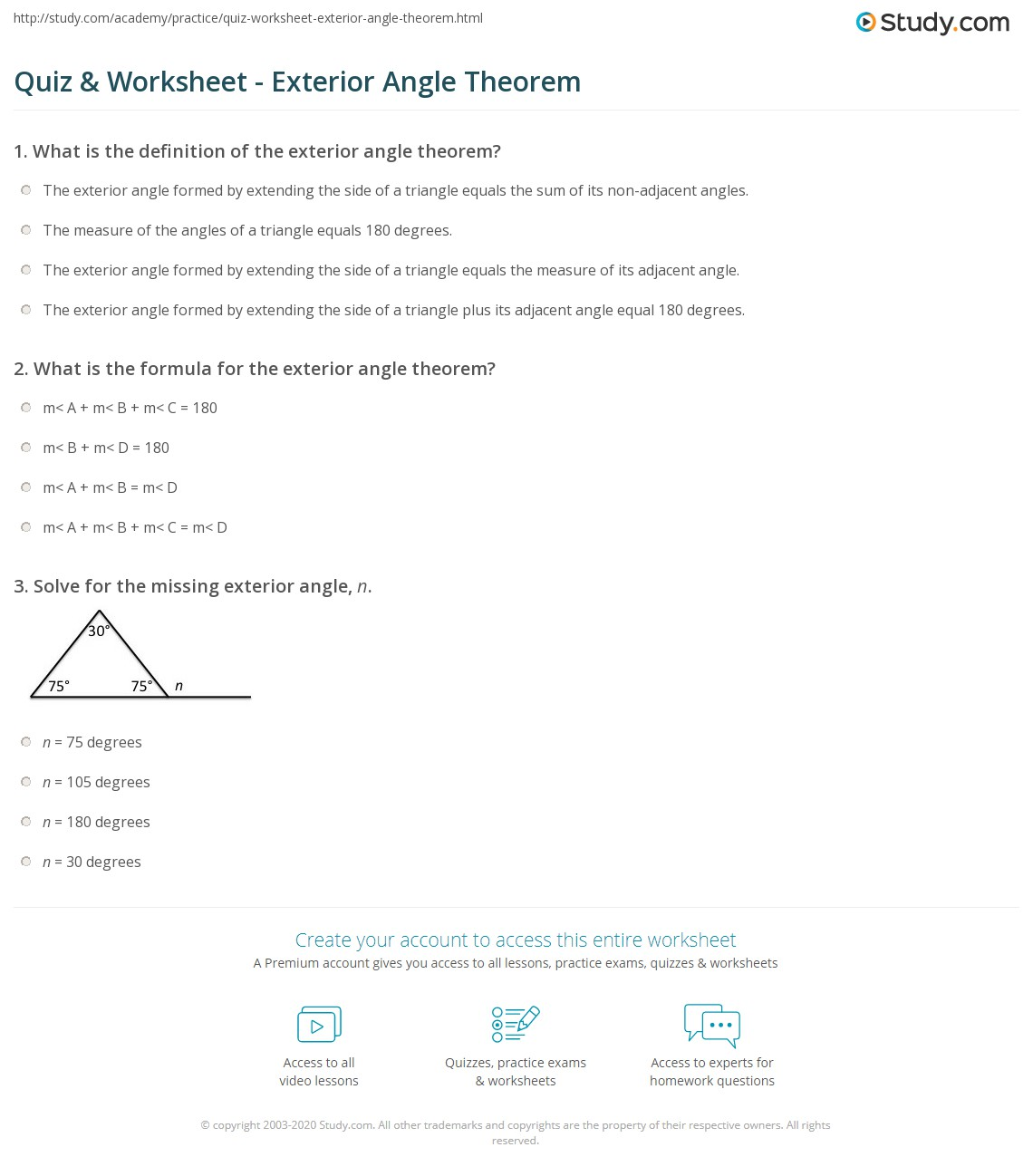 Quiz Worksheet Exterior Angle Theorem – Exterior Angle Theorem Worksheet
