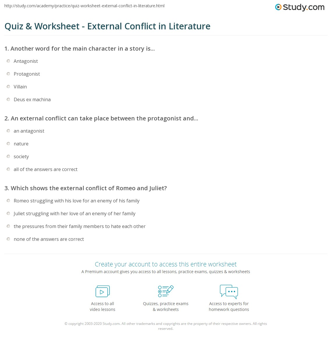 Print What Is External Conflict In Literature?   Definition, Types U0026  Examples Worksheet