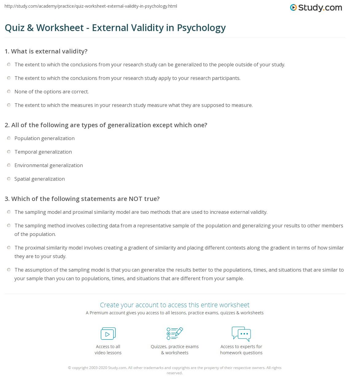 External Environment Worksheet : Quiz worksheet external validity in psychology study