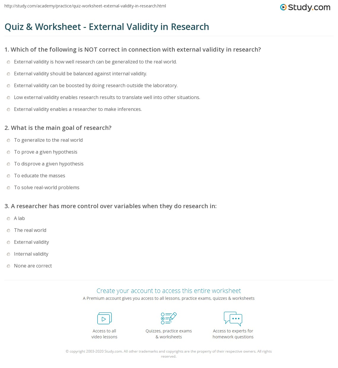 Quiz Worksheet External Validity In Research Study