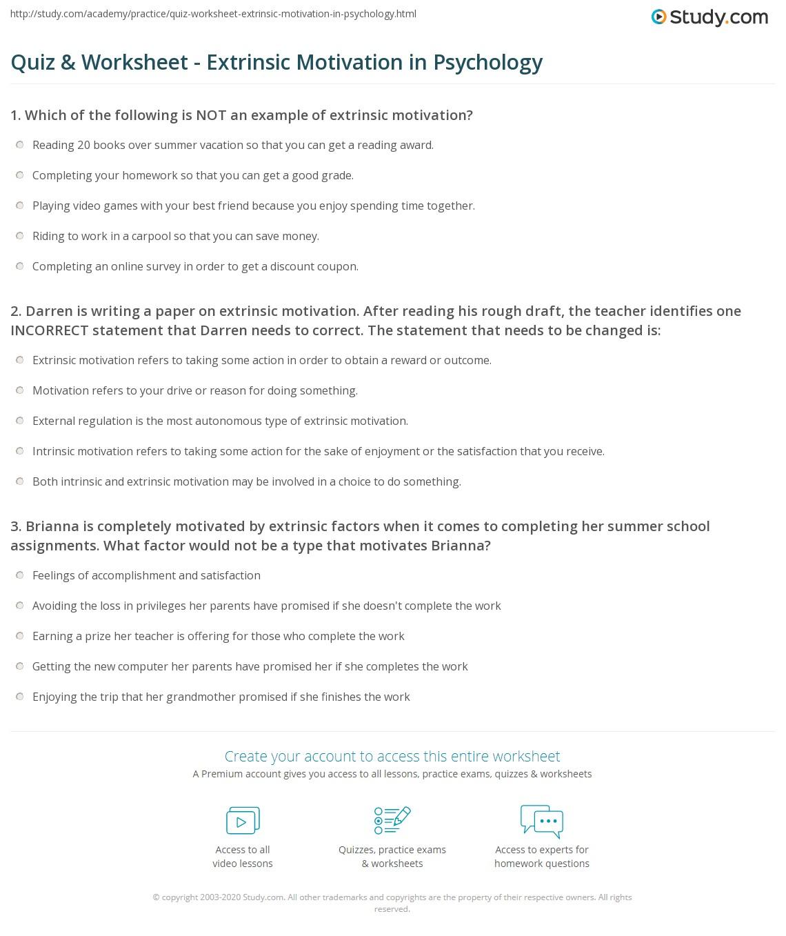 quiz worksheet extrinsic motivation in psychology. Black Bedroom Furniture Sets. Home Design Ideas