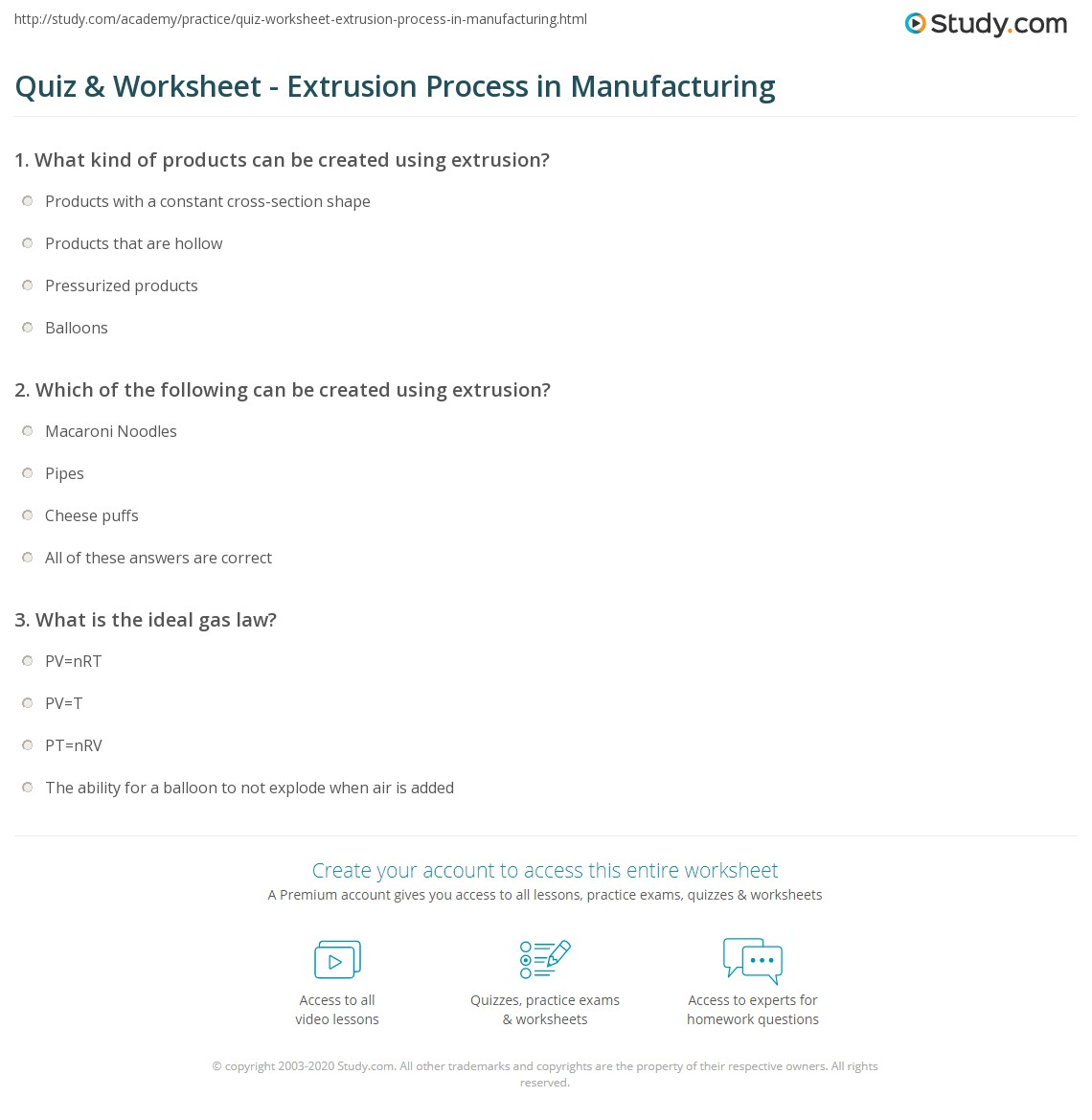 Print Extrusion: Definition, Process U0026 Examples Worksheet
