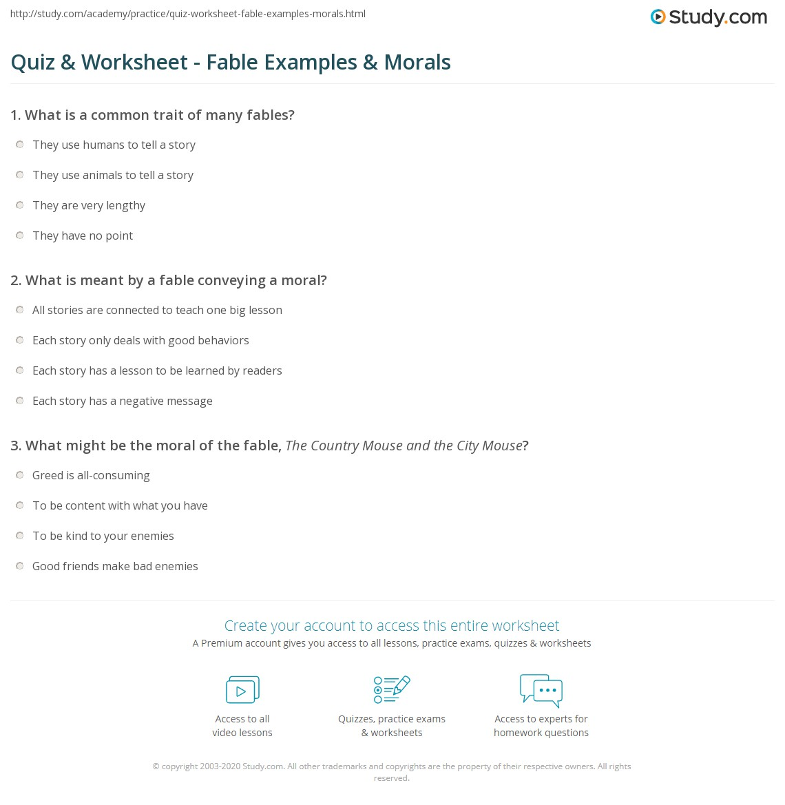 Quiz Worksheet Fable Examples Morals Study