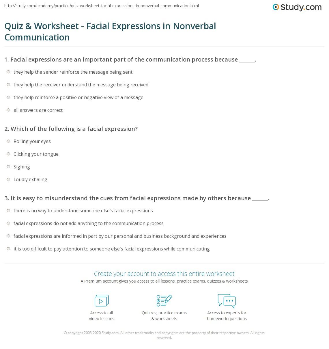 quiz worksheet facial expressions in nonverbal communication. Black Bedroom Furniture Sets. Home Design Ideas