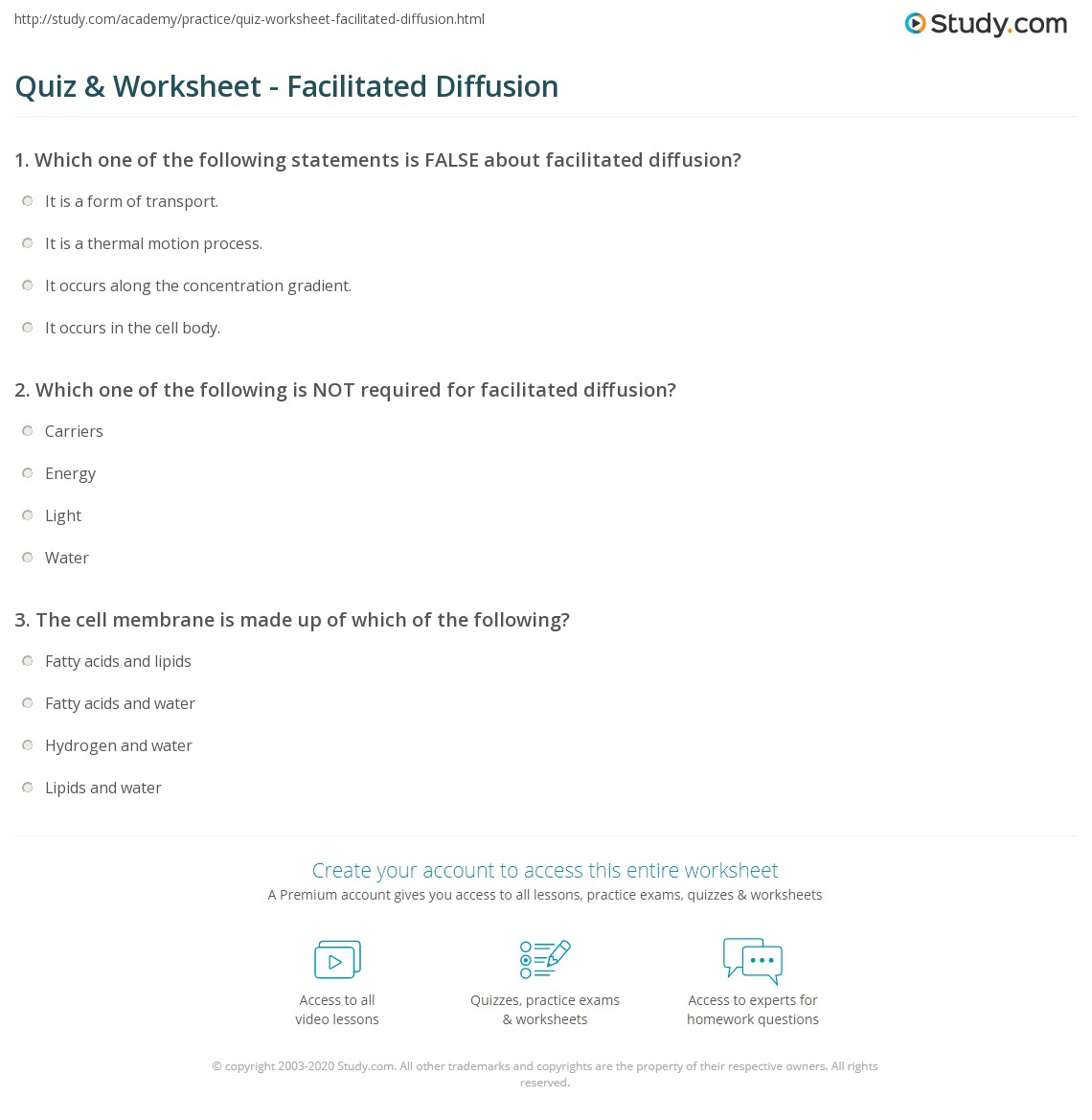 Quiz & Worksheet - Facilitated Diffusion | Study.com