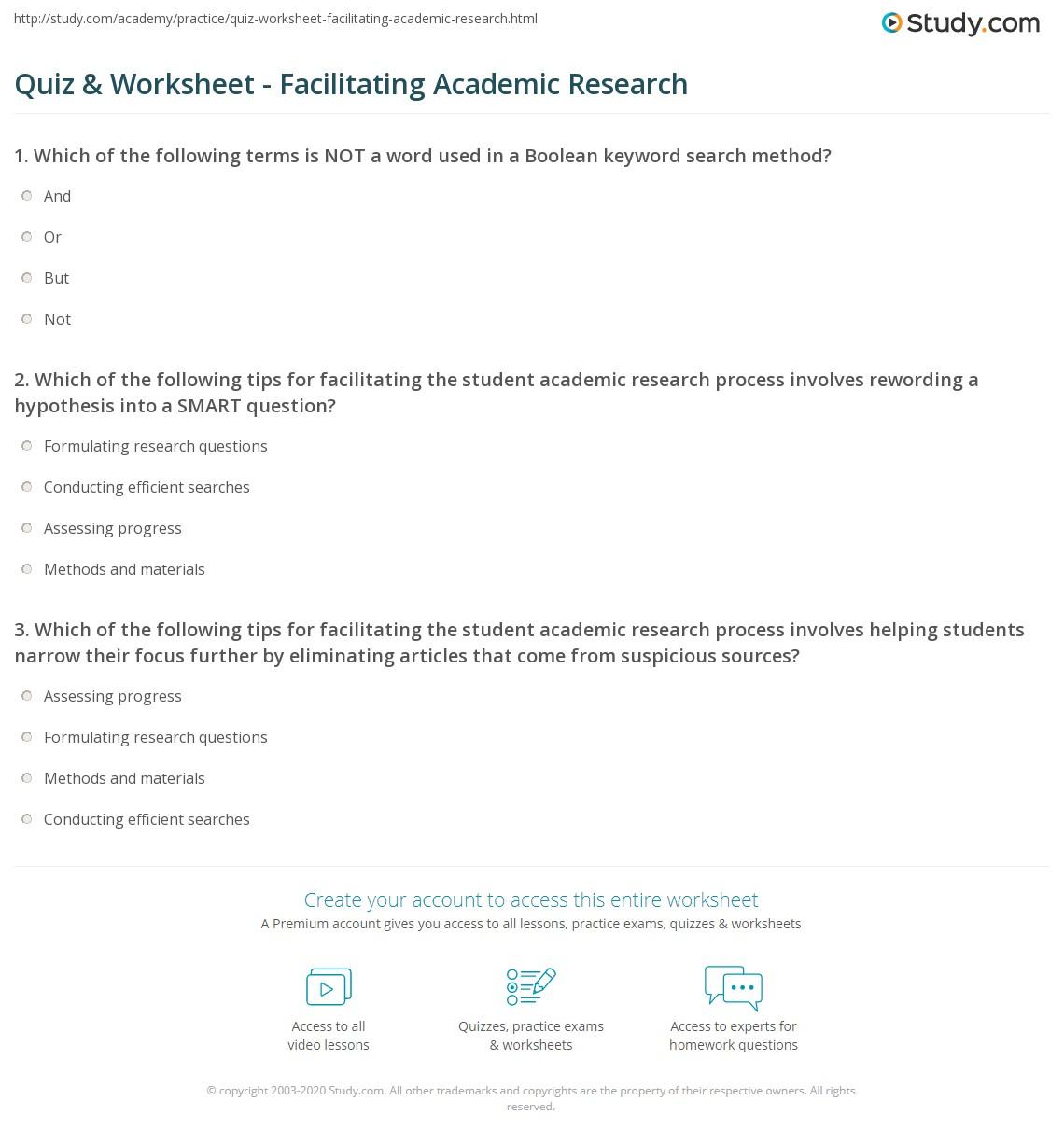 Quiz Worksheet Facilitating Academic Research Study