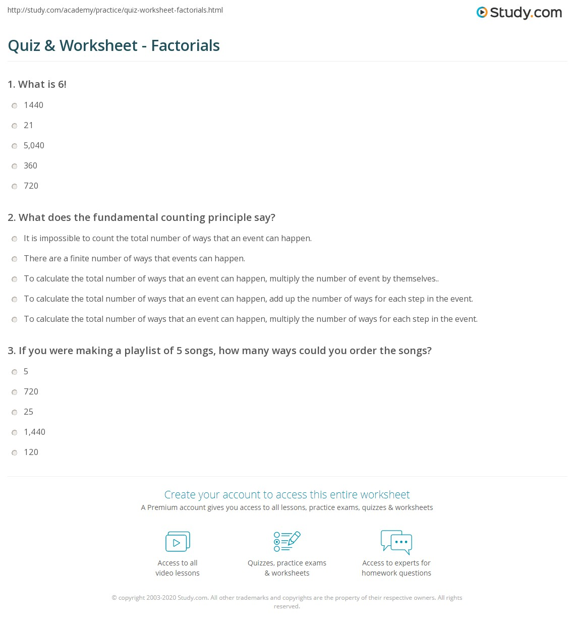 quiz worksheet factorials. Black Bedroom Furniture Sets. Home Design Ideas