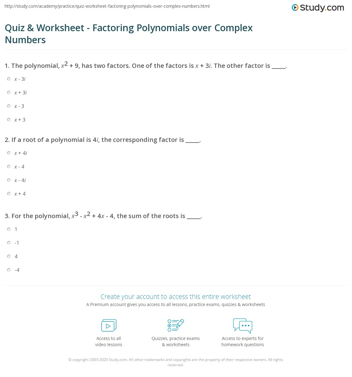 worksheet Factoring Polynomials Worksheets quiz worksheet factoring polynomials over complex numbers print factorization of worksheet