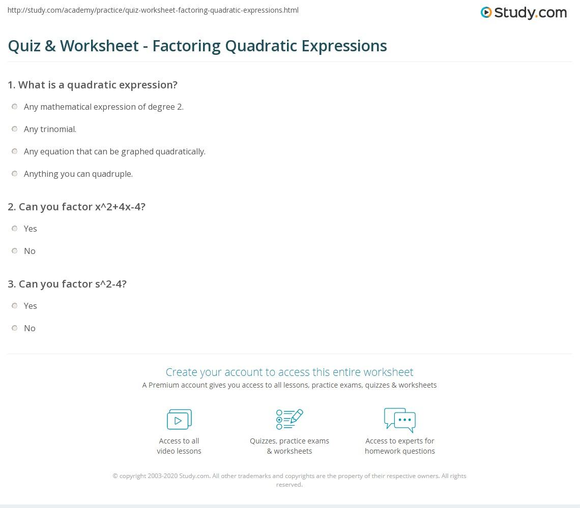 Worksheets Factoring Quadratic Expressions Worksheet quiz worksheet factoring quadratic expressions study com print examples concepts worksheet