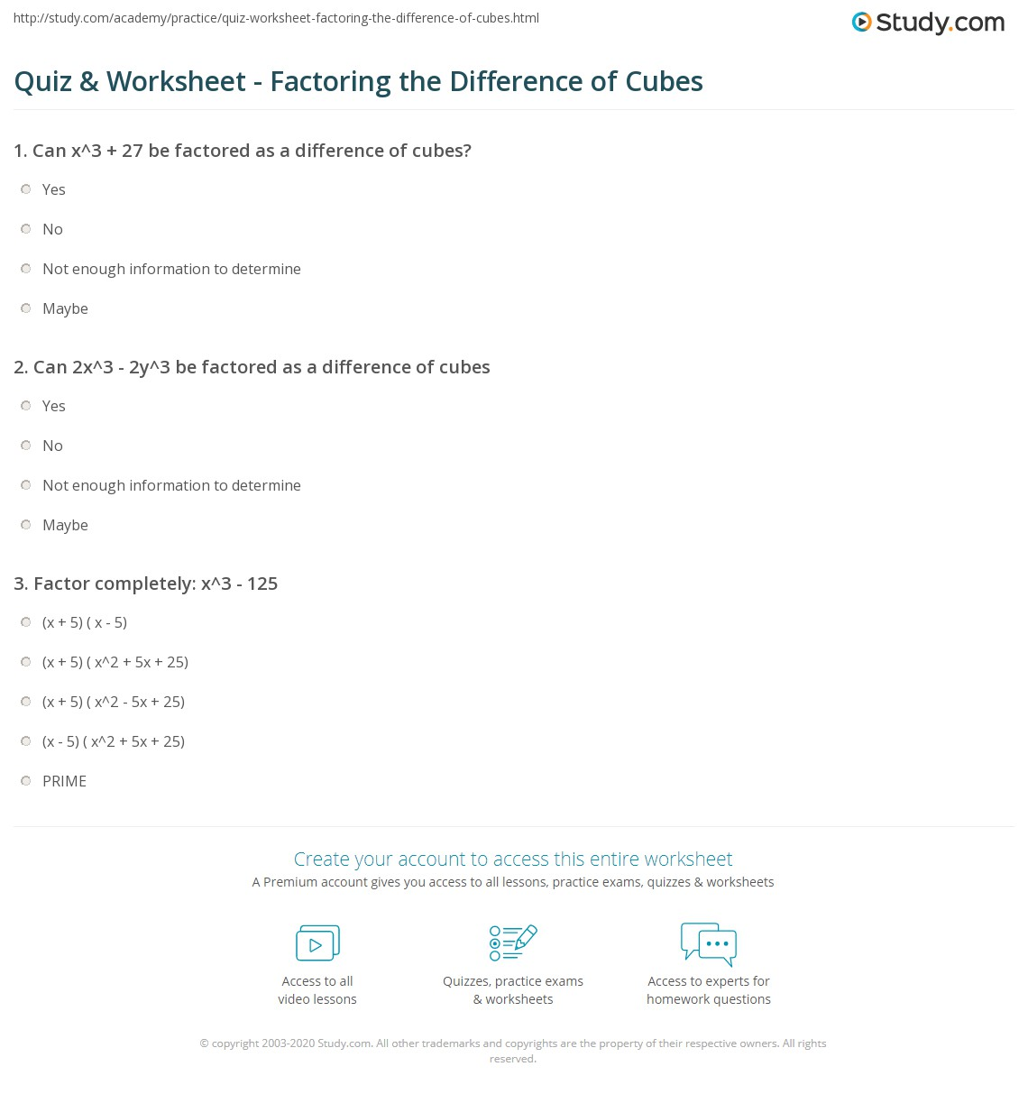 worksheet Factoring Completely Worksheet quiz worksheet factoring the difference of cubes study com print how to factor formula practice problems worksheet