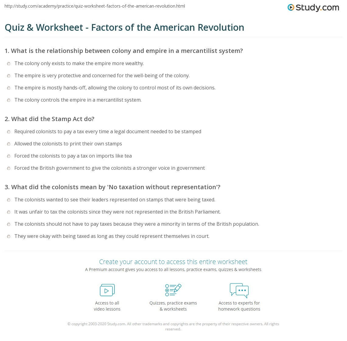 worksheet American Revolution Worksheet quiz worksheet factors of the american revolution study com print causes effects worksheet