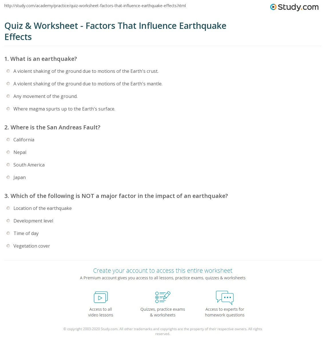 Worksheets Earthquake Worksheets quiz worksheet factors that influence earthquake effects print determine the impact of an worksheet